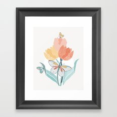 Butterflies and Tulips I Framed Art Print