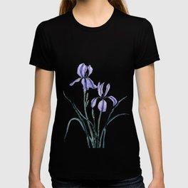 vintage purple iris watercolor T-shirt