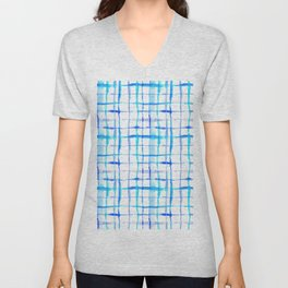 Watercolor Abstract Plaid TieDye in Indigo Ink Unisex V-Neck