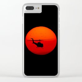 Vietnam Helicopter Sunset Clear iPhone Case