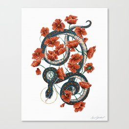 Let Go, Let Grow – Teal Snake in Red Poppies Canvas Print
