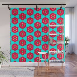 Funky red fowers pattern Wall Mural