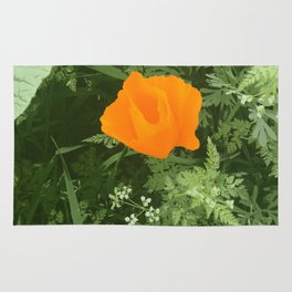 California poppy - digital art photograph Rug