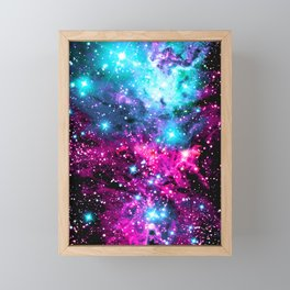Fox Fur Nebula Hot Pink Turquoise Purple Framed Mini Art Print