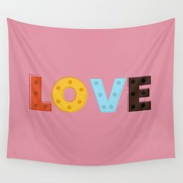 happy LOVE - typography Wall Tapestry