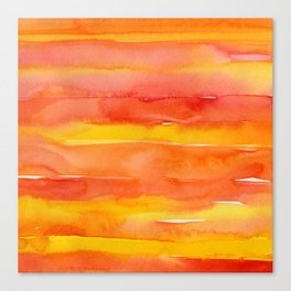 Watercolor Pattern Abstract Summer Sunrise Sky on Fire Canvas Print