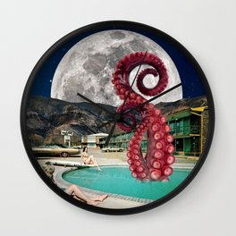 Octopus in the pool Wall Clock