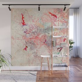 Fort Worth map Texas painting Wall Mural