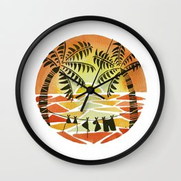 Christmas Sunset Wall Clock