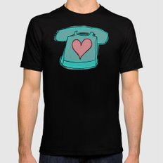 Long Distance Love Black MEDIUM Mens Fitted Tee