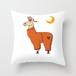 Cute & Funny Sleepy Llama in Pajamas Bedtime Throw Pillow