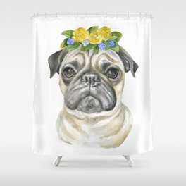Pug Floral Dog Portrait Watercolor Shower Curtain