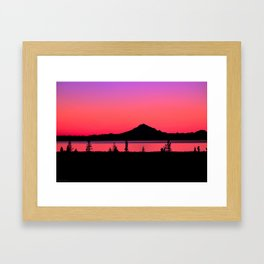 Pink Sunset Silhouette - Mt. Redoubt, Alaska Framed Art Print