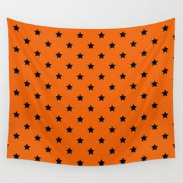 Orange and Black Stars Pattern Wall Tapestry