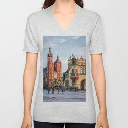 Cracow Main Square art Unisex V-Neck