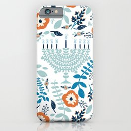 Hanukkah Menorah and Flowers iPhone Case