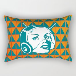 Faces: SciFi lady on a teal and orange pattern background Rectangular Pillow