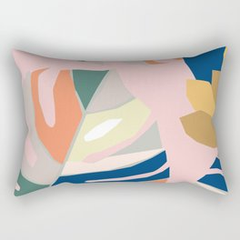 Monstera leaf Jungle mid century modern paper collage Rectangular Pillow