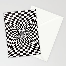 Checkered Optical Illusion Stationery Cards