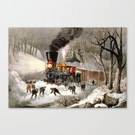 Snow Bound: Vintage Currier & Ives Railroad Scene Canvas Print