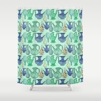 persian Shower Curtains featuring Persian Pots by Katie L Allen