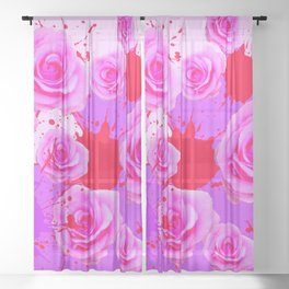 PAINTING SPLATTERS FUCHSIA PINK ROSES RED ART Sheer Curtain