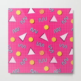 Geometric Memphis in Pink Metal Print