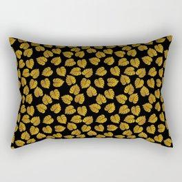 Gold Metallic Foil Photo-Effect Monstera Giant Tropical Leaves on Black Rectangular Pillow