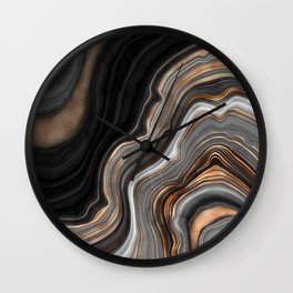 Elegant black marble with gold and copper veins Wall Clock
