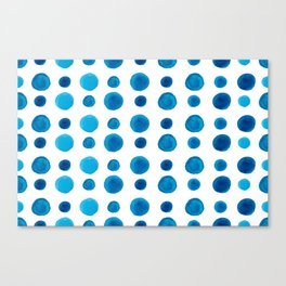 Watercolor blue dots Canvas Print
