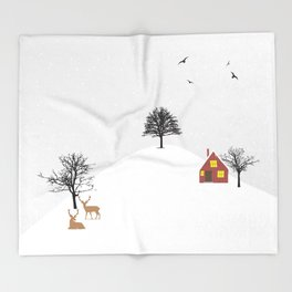 Snowy Landscape Throw Blanket