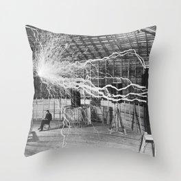 Nikola Tesla Electricity Throw Pillow