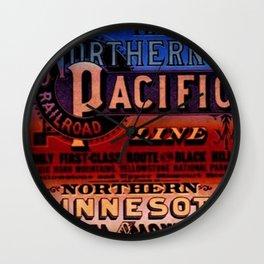 1875 Vintage Northern Pacific Railroad Line Deadwood - Bismarck Advertising Poster Broadside Wall Clock