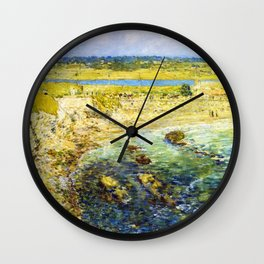 Classical Masterpiece 'Bailey's Beach, Newport, Rhode Island' by Frederick Childe Hassam Wall Clock