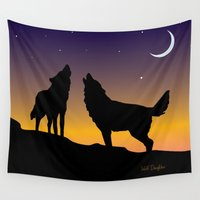 howl Wall Tapestries featuring Howl Together by WolfDaughter
