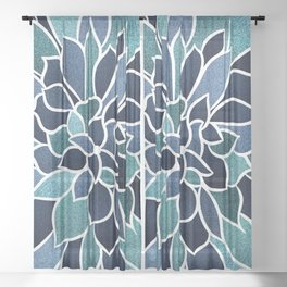 Festive, Flower Bloom, Navy Blue and Teal Sheer Curtain