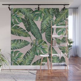Jungle Leaves, Banana, Monstera Pink #society6 Wall Mural