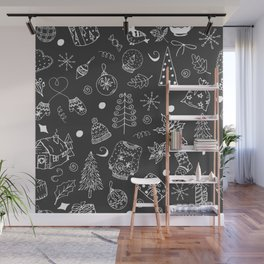 Christmas pattern, white line, gray background. Winter holiday illustration. Wall Mural