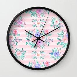 Beautiful watercolor garden floral paint Wall Clock