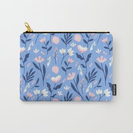 Floral Blue Pattern Carry-All Pouch