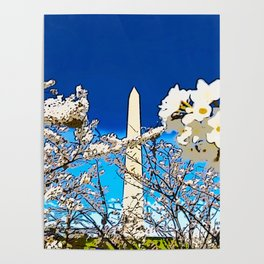 Washington Monument Amid Cherry Blossoms II Poster