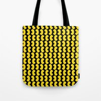 pac man Tote Bags featuring Pac-Man by Jennifer Agu