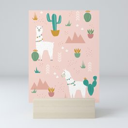 Llamas + Cacti on Pink Mini Art Print
