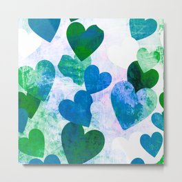 Fab Green & Blue Grungy Hearts Design Metal Print