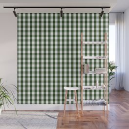 Dark Forest Green and White Gingham Check Wall Mural