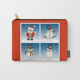 Cute Snowmen with Ornaments, Candy Cane and Strand of Lights Carry-All Pouch