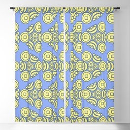 Ancient Chinese Money Mixed Stock Geo Zigzag Pattern Cornflower Blue x Yellow Blackout Curtain