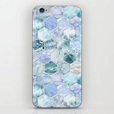 Ice Blue and Jade Stone and Marble Hexagon Tiles iPhone & iPod Skin