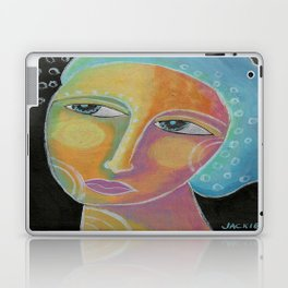 Woman with Blue Hair Abstract Painting  Laptop & iPad Skin