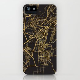 YEREVAN ARMENIA GOLD ON BLACK CITY MAP iPhone Case